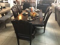 brown wooden dining table set 1206 mi