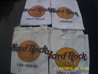 4 Hard Rock T-Shirts For Sale $20 OBO=Or Best Offer.  The Shirts Are Used, But Good,   (013) We Can Meet For You To Check It Out.   God Bless You.   FAYETTEVILLE