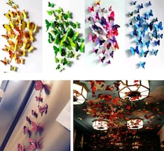 New 12 pack 3D colourful butterfly decor