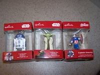 3 new in box HALLMARK Christmas Oranments - Star Wars & Avengers Vaughan
