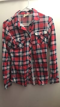 red and white plaid print button-up longsleeve polo