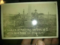 Antique photo 100 years old of u.s soldier border