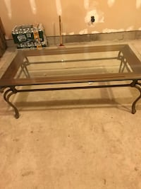 Glass coffee table with end tables