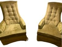 Mid-Century Tufted High-Back Chairs w/ Green Crushed Velvet Upholstery Rock Hill, 29732