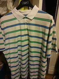 white, blue, and green striped polo shirt Pueblo