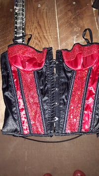 Sequin red laceup bustier