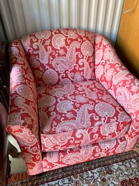 Beautiful red and white accent chair