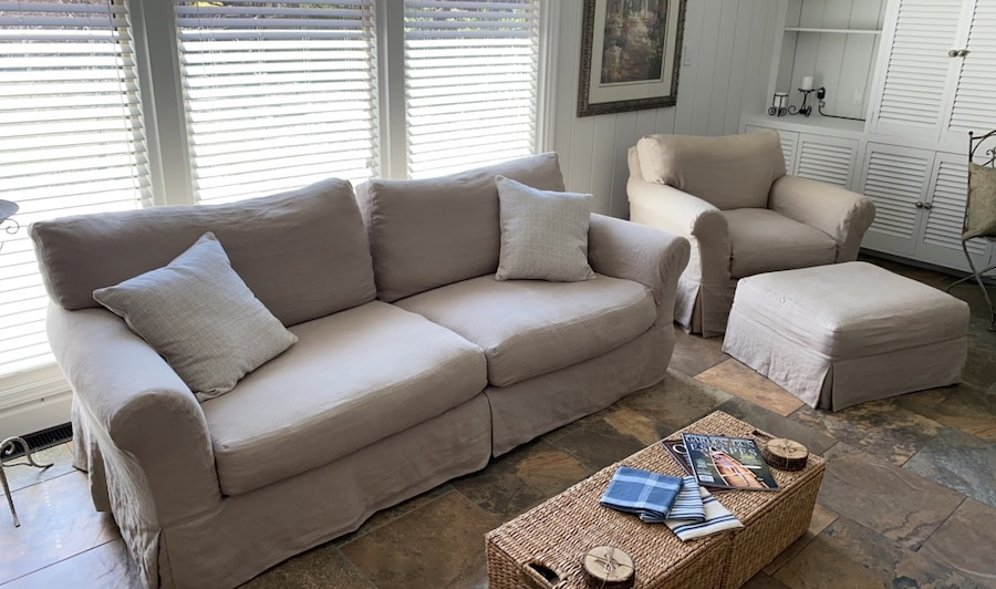 Photo Sofa and Chair with Ottoman. Sofa pillows included