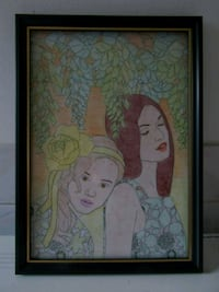 A4 MOTHER & DAUGHTER PENCIL COLOUR WALL ART  London