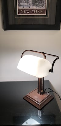 Classic Brown Metallic Office Desk Lamp with White Glass Shade and Pull-string Yonkers