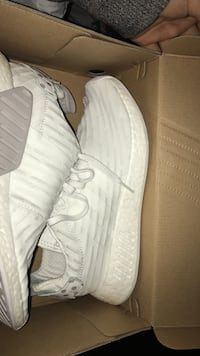 white-and-gray Adidas low-top sneakers with box