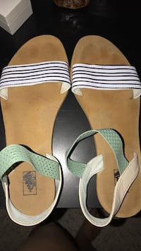 women's white-and-brown vans leather sandals Virginia Beach, 23456