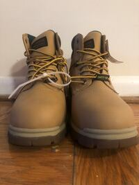 Pair of brown leather work boots size 10.5 39 km