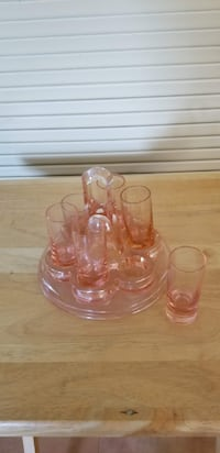 Vintage shot glasses with caddy BRISTOW