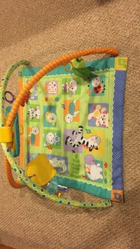 Baby's green and blue swing
