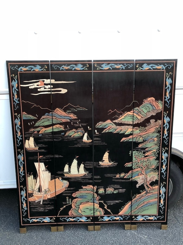 Hong Kong etched, painted wooden screen. Brought to U.S. in the 60's. Not perfect but good condition. 6d784bbf-9ad7-49ca-b6f4-9c7408049a59