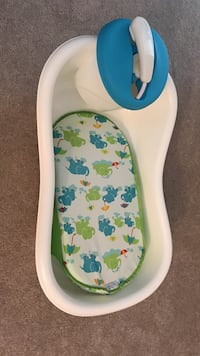 Baby's white, green and blue bather