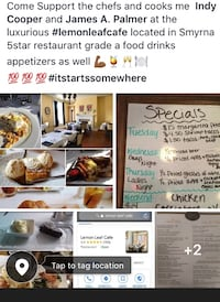Advertising lemon leaf cafe located in Smyrna 5 star food drink appetizers come support  Dover