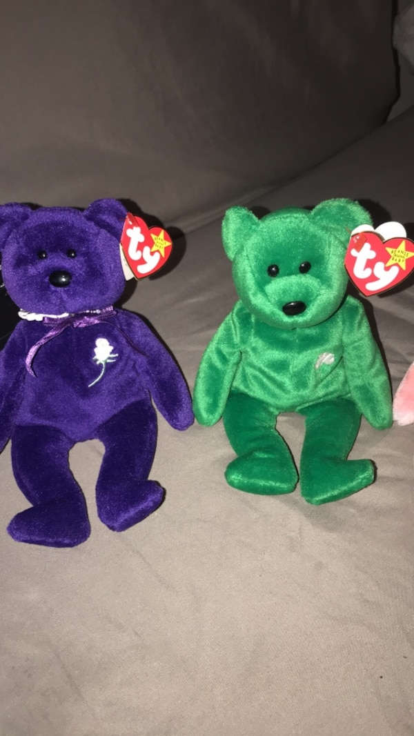 Used Two green and purple ty beanie baby bear plush toys for sale in Tulsa 9f58c5e1e42