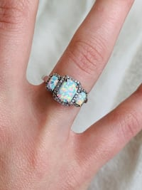 Opal 3-Stone Ring with diamond accents in 14k White Gold Jeffersonville, 47130