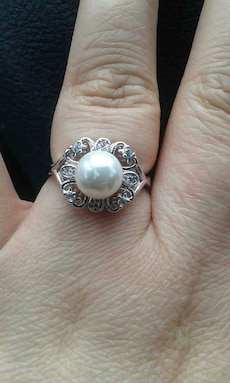 925 Pearl and cz accents size 8