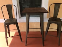 Patio set/ bar stool set, high table with two high chairs