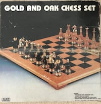 Vintage Gold and Oak Chess set Manassas, 20112