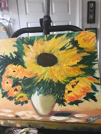 """Sunflowers in Vase Real Oil Painting by Tanya 16""""x20"""" with Frame Mary Esther, 32569"""