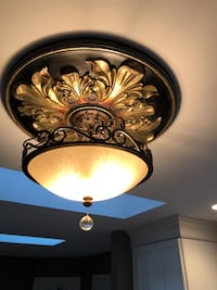Black Wrought Iron Chandelier with Crystal ball detail. Ceiling Medallion included.  Crofton, 21114