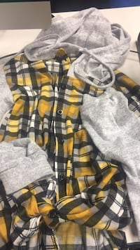 black and yellow plaid button up jacket Stafford, 22554