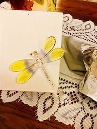 ** ON SALE ** Yellow Winged Dragonfly Glass Figurine