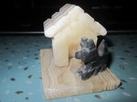 Marble Terrier Dog and Dog House Decor Paper Weight Winnipeg