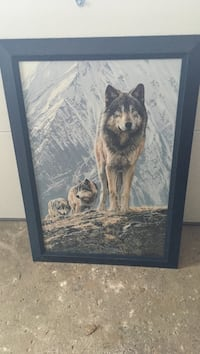 black wooden framed painting of wolf Cambridge