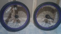 two black-and-purple bicycle wheels