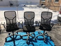 two black metal framed brown padded chairs Alsip, 60803