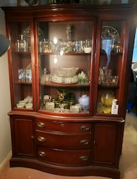 Antique Wood Breakfront / China Cabinet