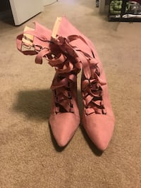 pair of pink suede lace-up boots Central Okanagan, V4T 1Y8