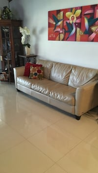 Leather 3 seat sofa bed