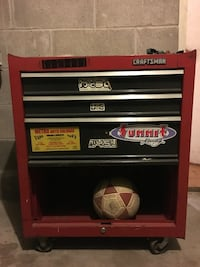 Red and black craftsman tool cabinet