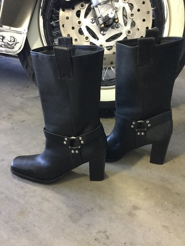 Sexy/Sharp Black Leather motor cycle  mama  boots. Brand new
