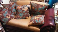 Brown and Gray floral throw pillow love seat  Miami