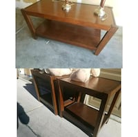 brown wooden framed glass top coffee table Las Vegas, 89183