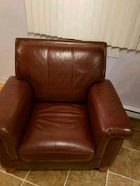 brown leather sofa chair with ottoman Laval, H7N 4G2