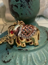 Tricolor Elephant Pendant With Chain
