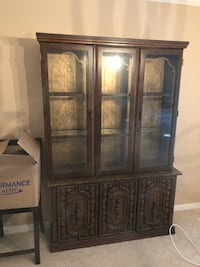 brown wooden framed glass display cabinet Baltimore, 21230