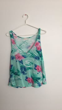 Teal and pink floral tank top Central Okanagan, V1X 7T7