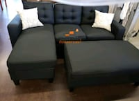 Brand New Black Linen Sectional Sofa +Ottoman  Silver Spring