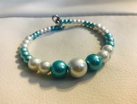 Green and white beaded bracelet with lobster claw lock Edmonton, T6V 1Y2