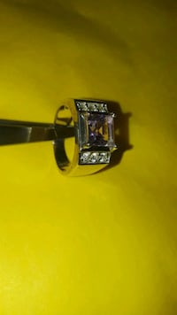 Amethist 2k stone, in 925 silver/cz size 7 ring Tampa, 33612