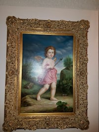 Beautiful angel engraved wood frame